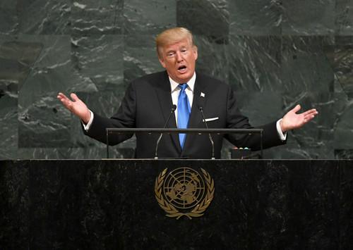 特朗普2017年9月19日在第72届联合国大会上发表演讲(法新社)