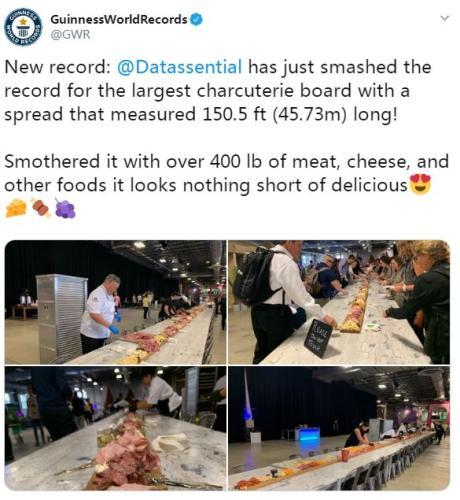 世界最长熟食板诞生!30个体验区展示全球食物