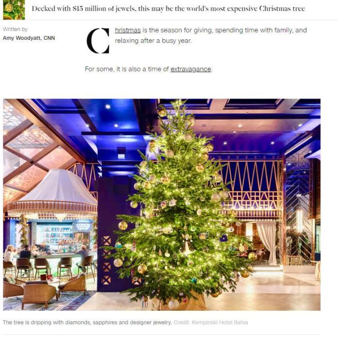 全球最贵圣诞树?价值1190万英镑 钻石、蓝宝石装饰(图)
