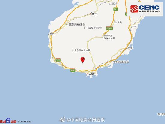 海南三亚市天涯区发生4.2级地震 震源深度12千米