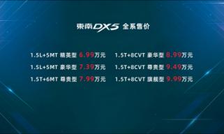 东南DX5上市 全系6.99万元起售