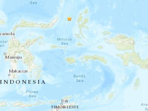 印尼东北部海域发生5.1级地震 震源深度35公里