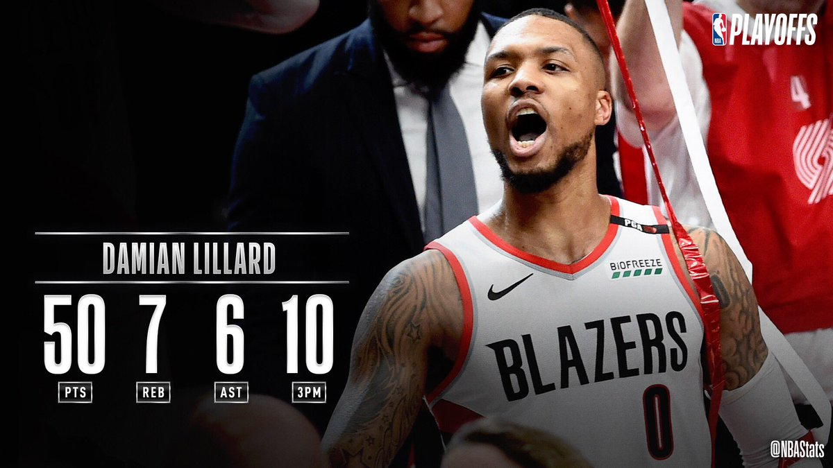 NBA官推评选最佳数据:利拉德50+7+6+10三分当选