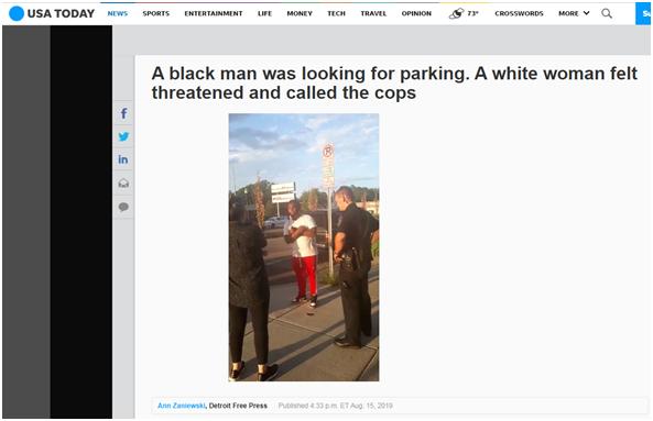 美国黑人男子遭警察盘问,只因找车位让附近白人女子感到不安