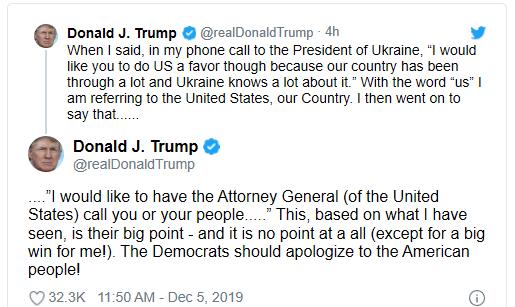 """特朗普开始咬文嚼字了:求乌克兰总统帮助""""我们"""",不是帮我"""
